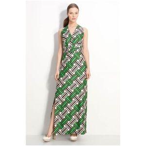MILLY Silk Print 'Caroline' Belted Maxi Dress [D2]